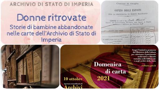 """Imperia: domenica l'esposizione """"Donne ritrovate"""", le storie delle bambine abbandonate nei documenti dell'Archivio di Stato"""