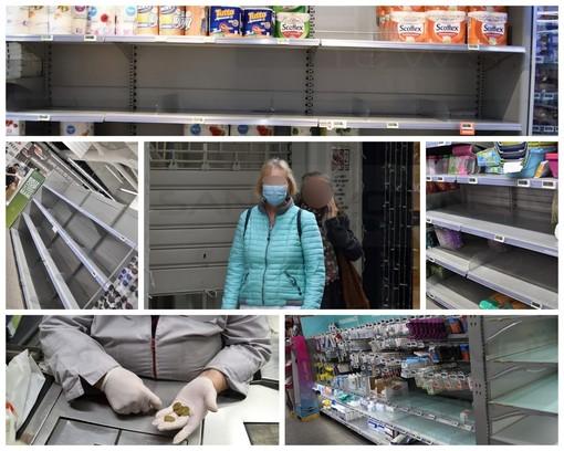 Sanremo: allerta Coronavirus, anche oggi scaffali svuotati nei supermercati. E c'è chi fa la spesa con la mascherina