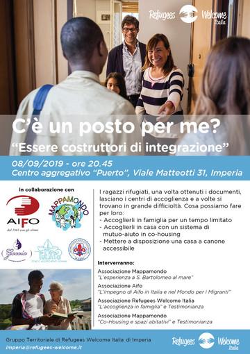 """Imperia: domenica l'evento """"C'è un posto per me?"""" promosso dall'Associazione Refugees Welcome Italia"""