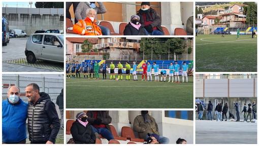 Calcio: Imperia-Sanremese il big match di oggi pomeriggio in Serie D, tifosi fuori dallo stadio e spiegamento di forze dell'ordine (Foto)