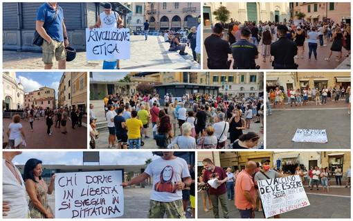 Tornano in piazza i contestatori del 'Green Pass': a Sanremo e Imperia circa 300 persone per dire 'No' (Foto e Video)