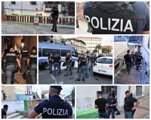 Sanremo: maxi servizio di controllo della Polizia ieri sera nella Pigna e in tutto il centro (Foto e Video)