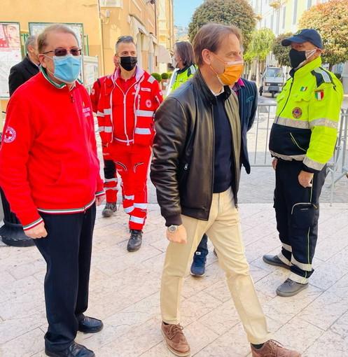 Diano Marina: l'Assessore Regionale Marco Scajola ieri mattina in visita centro vaccinale contro il Covid-19