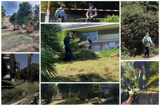 Imperia: didattica e servizio, pulite le aiuole del 'Ruffini' grazie al corso per giardinieri del 'Centro Pastore' (Foto)