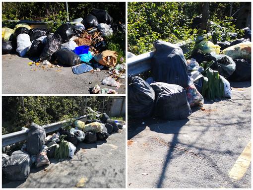 Imperia: discarica a bordo strada in via Nazionale nell'area di un'ex isola ecologica (Foto)