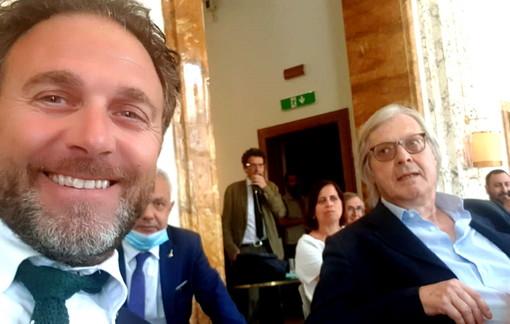 Alessandro Piana ieri a Roma insieme a Vittorio Sgarbi