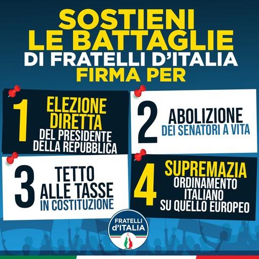 Riforme, anche a Imperia inizia la raccolta firme di Fratelli d'Italia per sostenere le 4 proposte di legge di iniziativa popolare