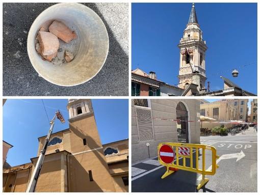 """Imperia, cadono calcinacci dal campanile di San Giovanni, area messa in sicurezza: il danno """"provocato"""" dai piccioni (foto)"""