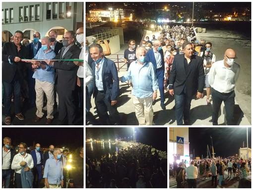 Imperia: il Presidente della Regione Toti e il Sindaco Scajola hanno inaugurato la nuova passeggiata a mare di Oneglia (Foto e Video)