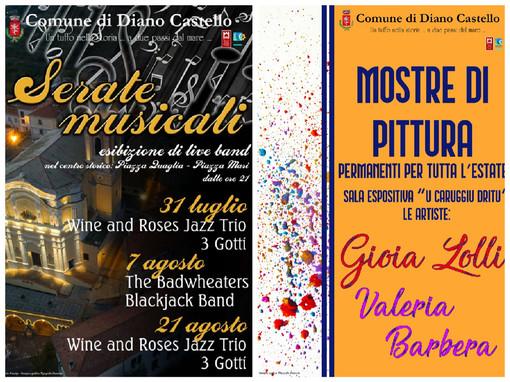 Eventi estivi a Diano Castello, al via la mostra di Lolli e Barbera e tre concerti in centro