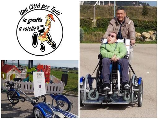 Imperia, grande gesto di solidarietà per la 'Giraffa a rotelle': una donazione salda parte dell'assicurazione per la bici 'Aspasso' usata da tanti ragazzi disabili