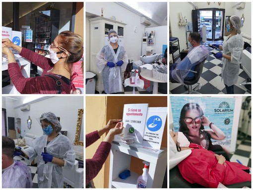 Coronavirus, Diano Marina: il primo giorno post lockdown per i parrucchieri. Tra incertezze, paura e speranza i professionisti del benessere ripartono (foto)