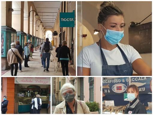 Coronavirus, la città cerca di ripartire, oggi imperiesi con mascherina al mercato e nei bar (foto)