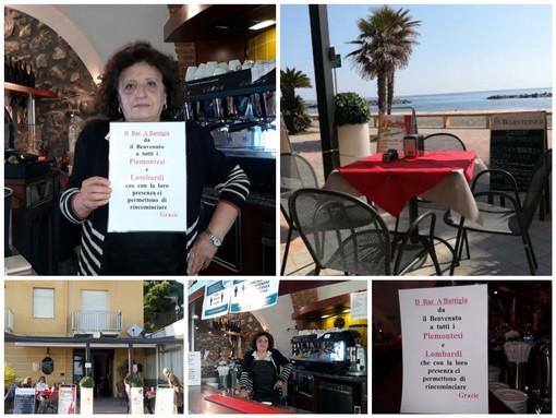 San Bartolomeo al Mare, cartelli con il benvenuto a piemontesi e lombardi: l'inziativa della barista Giancarla Riva Garbolino