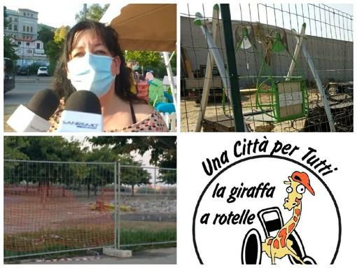 """Imperia, la denuncia della 'Giraffa a rotelle': """"Ancora al Parco Urbano l'altalena inclusiva non è stata rimontata. Dal Comune nessuna risposta"""""""