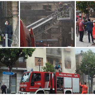 Taggia: dichiarata inagibile la palazzina al civico 5 di piazza Spinola, 15 le persone fuori casa e 9 gli intossicati (Foto e Video)