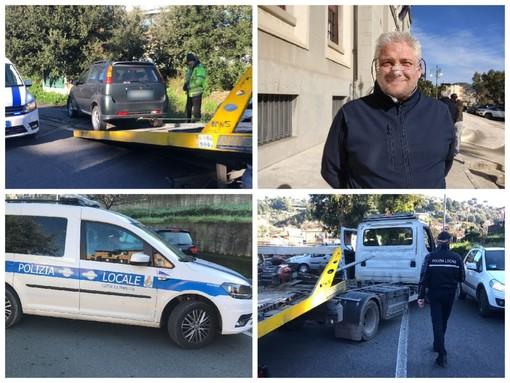 Imperia, lotta al degrado: rimosse dalla polizia locale molte auto abbandonate tra Oneglia e Caramagna (foto e video)