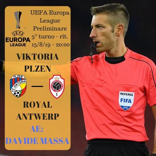 Calcio: l'arbitro imperiese Davide Massa domani dirigerà il terzo turno preliminare di Europa League