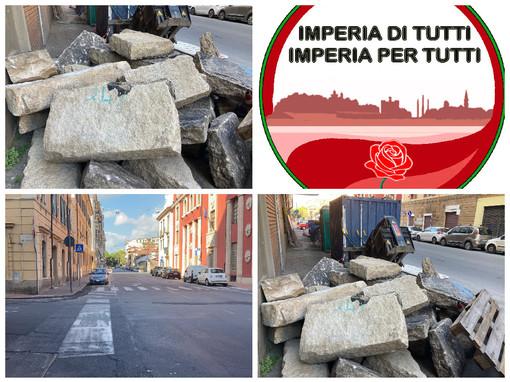 """In via Schiva riemergono le 'basole', 'Imperia di tutti': """"Pezzo di storia della città, siano catalogate come quelle di via Cascione""""(foto)"""