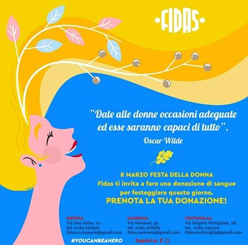 Donazione sangue, tutti i comitati della Fidas si tingono di rosa per la festa delle donne: tante le iniziative in provincia di Imperia
