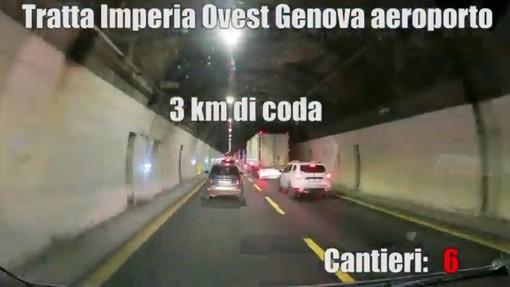 Dodici cantieri in autostrada tra Imperia e Genova, il video in timelapse che mostra i disagi in A10